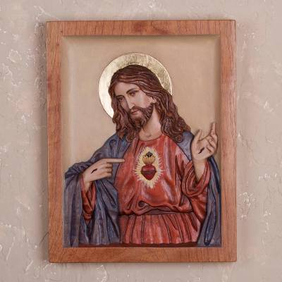 Cedar relief panel, 'Divine Heart' - Hand-Painted Cedar Wood Wall Relief Panel of Jesus from Peru