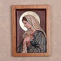 Cedar relief panel, 'Meditating Virgin' - Hand-Painted Cedar Wood Relief Panel of Mary from Peru
