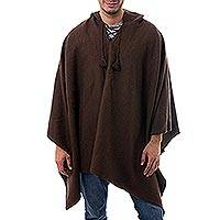 Men's alpaca blend hooded poncho, 'Highlands Spice' - Men's Alpaca Blend Spicy Brown Hooded Poncho