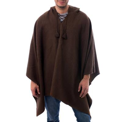 Mens alpaca blend hooded poncho, Highlands Spice