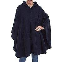 Alpaca blend hooded cape, 'Vision in Navy' - Hooded Woven Navy Alpaca Blend Cape