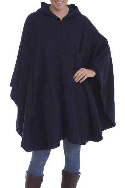 Hooded Woven Navy Alpaca Blend Cape