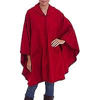 Alpaca blend cape, 'Vision in Red' - Woven Hooded Red Alpaca Blend Cape from Peru