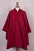 Alpaca blend cape, 'Vision in Red' - Woven Hooded Red Alpaca Blend Cape from Peru (image 2d) thumbail