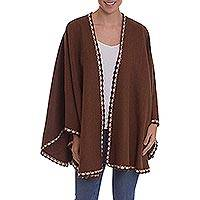 Alpaca blend ruana, 'Cozy Holiday in Chestnut' - Brown Alpaca Blend Ruana from Peru