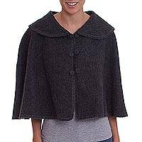 Alpaca blend capelet, 'Graphite Legend' - Knit Grey Alpaca Blend Mini Cape from Peru
