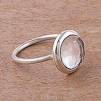 Quartz single stone ring, 'Light Crystal' - Clear Quartz and Silver Single Stone Ring from Peru