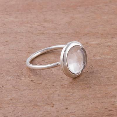 Clear Quartz and Silver Single Stone Ring from Peru