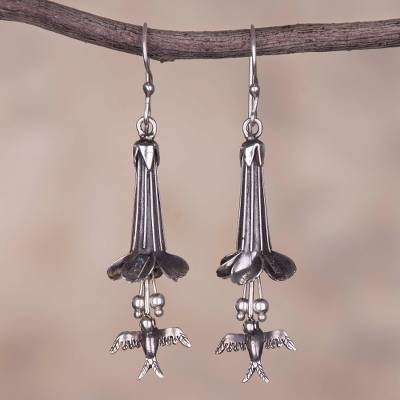 Sterling silver dangle earrings, 'Cantu and Hummingbirds' - Silver Cantu Flower and Hummingbird Earrings from Peru