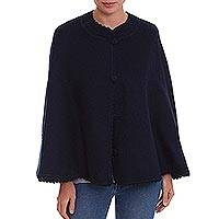 Alpaca blend cape, 'Andean Elegance' - Navy Blue Alpaca Blend Cape with Crocheted Collar