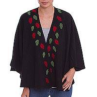 Alpaca blend cape, 'Serene Leaves' - Black Alpaca Blend Ruana with Crocheted Leaves