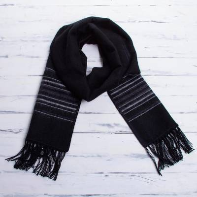 Men's alpaca blend scarf, 'Andes at Midnight' - Artisan Crafted Woven Black Alpaca Blend Scarf for Men