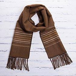 Men's alpaca blend scarf, 'Andean Clouds in Brown' - Men's Artisan Crafted Woven Brown Alpaca Blend Scarf