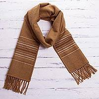 Men's alpaca blend scarf, 'Andes in Camel' - Peruvian Fair Trade Woven Brown Woven Alpaca Blend Scarf
