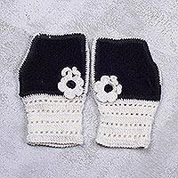 Alpaca blend fingerless mitts, 'Enchanted Light' - Alpaca Blend Black and White Crochet Flower Fingerless Mitts