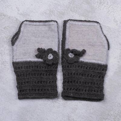 Alpaca blend fingerless mitts, 'Cozy Flowers in Grey' - Alpaca Blend Fingerless Mitts in Grey from Peru