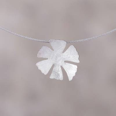 Sterling silver pendant necklace, 'Petals of Spring' - Floral Sterling Silver Pendant Necklace from Peru