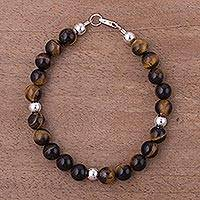Tiger's eye beaded bracelet, 'Radiant Orbs' - Tiger's Eye and Sterling Silver Bracelet from the Andes