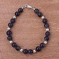 Amethyst beaded bracelet, 'Radiant Orbs' - Amethyst Beaded Bracelet with Sterling Silver from Peru