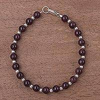 Garnet beaded bracelet, 'Malbec Vintage' - Garnet and Sterling Silver Beaded Bracelet from Peru