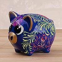 Ceramic piggy bank, 'Sweet Pig in Blue' (large) - Floral Ceramic Piggy Bank in Blue (Large) from Peru