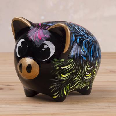 Ceramic piggy bank, 'Sweet Pig in Black' (3.3 inch) - Floral Ceramic Piggy Bank in Black (3.3 inch) from Peru