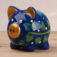 Ceramic piggy bank, 'Blue Pig' (4 inch) - Hand-Painted Floral Ceramic Piggy Bank from Peru (4 inch)