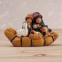 Ceramic sculpture, 'Canoe Tradition' - Ceramic Sculpture of an Andean Family in a Canoe from Peru