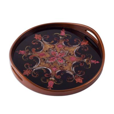 Brown on Black Floral Reverse Painted Glass Serving Tray