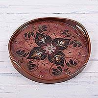 Reverse painted glass tray, 'Burgundy Rain Forest Blossom' - Burgundy and Russet Reverse Painted Glass Tray from Peru