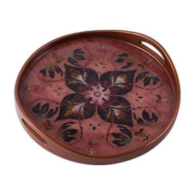 Burgundy and Russet Reverse Painted Glass Tray from Peru