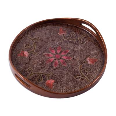 Daisy Theme Peruvian Reverse Painted Glass Serving Tray