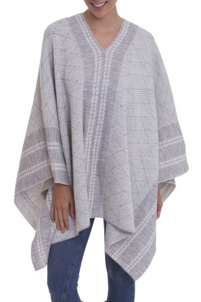 Grey and White Patterned Alpaca Blend Knit Poncho from Peru