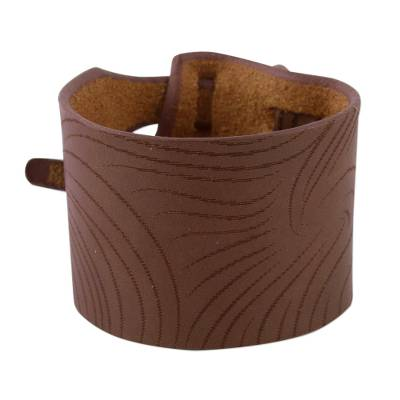 Hand Crafted Brown Leather Wristband Bracelet from Peru
