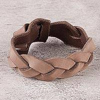 Leather wristband bracelet, 'Plaited Beauty' - Hand Made Light Brown Braided Leather Wristband Bracelet