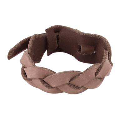 Hand Made Light Brown Braided Leather Wristband Bracelet