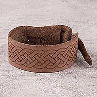 Leather wristband bracelet, 'Shipibo Maze in Light Brown' - Handcrafted Light Brown Leather Wristband Bracelet from Peru