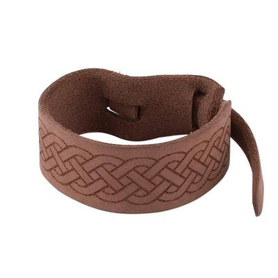 Handcrafted Light Brown Leather Wristband Bracelet from Peru