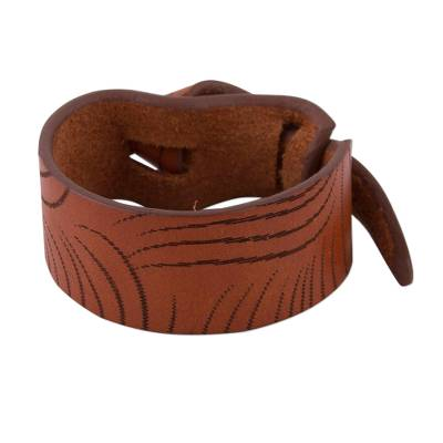 Artisan Made Tan Leather Wristband Bracelet from Peru