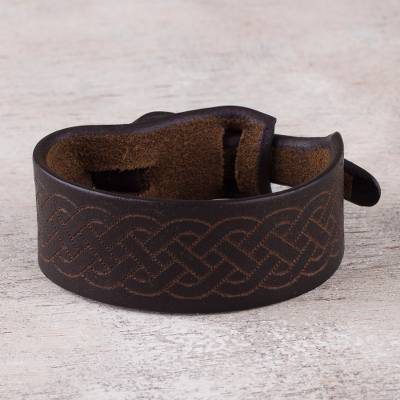 Leather wristband bracelet, 'Shipibo Maze in Dark Brown' - Peruvian Handcrafted Dark Brown Leather Wristband Bracelet