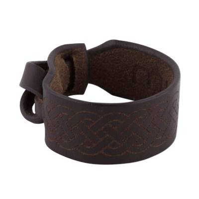 Peruvian Handcrafted Dark Brown Leather Wristband Bracelet