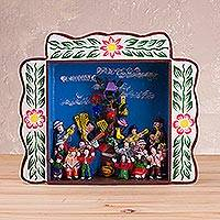 Wood retablo, 'Yunza in Ayacucho' - Wood Celebration Folk Art Retablo from Peru