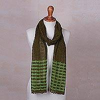 Baby alpaca blend scarf, 'Lacy Green Lattice' - Andean Fair Trade Knitted Green Baby Alpaca Blend Scarf