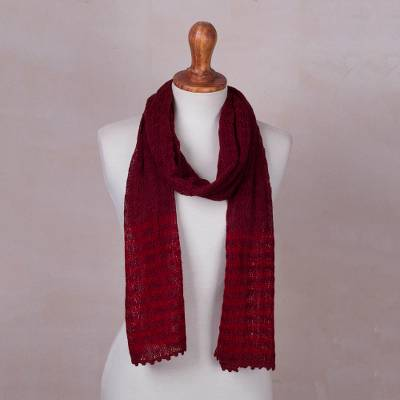 Baby alpaca blend scarf, Lacy Cinnabar Lattice