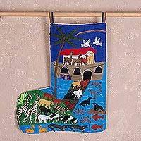 Cotton arpilleria Christmas stocking, 'Noah's Ark' - Noah's Ark Cotton Arpilleria Christmas Stocking from Peru