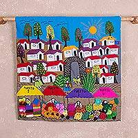Cotton arpilleria wall hanging, 'Market Splendor' - Hand Made Cotton Arpilleria Wall Hanging of Peruvian Market