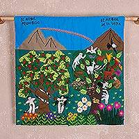 Cotton arpilleria wall hanging, 'Parallel Lives' - Forbidden Tree and Tree of Life Arpilleria Wall Hanging