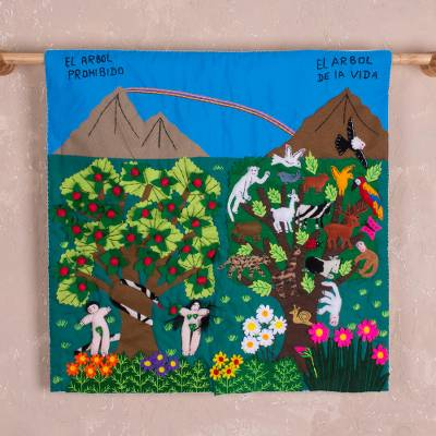 Cotton arpillera wall hanging, 'Parallel Lives' - Forbidden Tree and Tree of Life Arpillera Wall Hanging