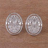Sterling silver button earrings, 'Oval Vintage' - Oval Sterling Silver Button Earrings from Peru