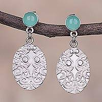 Opal dangle earrings, 'Oval Vintage' - Oval Opal Dangle Earrings Crafted in Peru